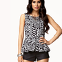 Tribal Print Peplum Top