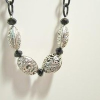 Ornate Tibetan Silver Beads Swarovski Black Crystal Necklace by PSYDesigns on Zibbet