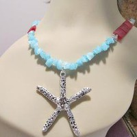 Ocean Blue Red Sea Glass Sand Dollar Necklace by PSYDesigns on Zibbet