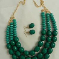 Multi Strand Teal Acrylic Bead Emerald Bib Fashion Necklace Set Gold Chain