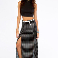 Dot Them Maxi Slit Skirt $35