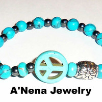 "Men's Bracelet  ""PEACE"" Genuine Turquoise, Hematite and Howlite Peace Sign"