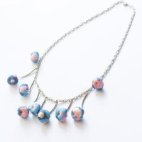Ju-Bijoux Handmade Bleu Rose Fabric Beads Necklace