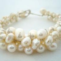 White mother of pearl bracelet by jewelrysilverstone on Etsy