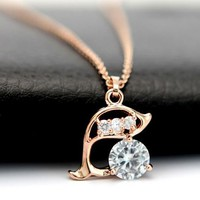 Sparkly Dolphin Rhinestone Necklace | LilyFair Jewelry