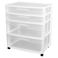 Sterilite 4 Drawer Storage Cart White