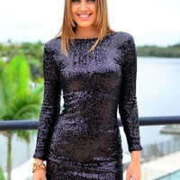 Black Sequin Long Sleeve Dress with V-Back Zip Detail