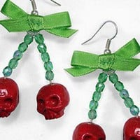 Cherry skull earrings