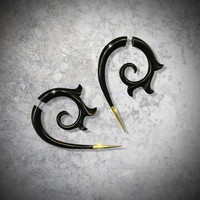 Fake Gauge Dragon Spirals - Girl With The Dragon Tattoo - Black Horn Earrings w/ Brass Tips