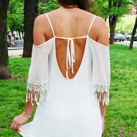 White Cutout Dress with Lace Fringe Sleeve Hemline&Tie Back