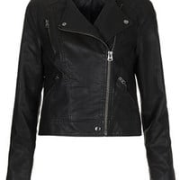 Collarless Biker Jacket - Jackets & Coats  - Clothing