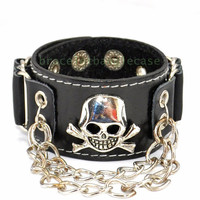 Black leather cuff bracelet silver skull and chain wrist bracelet men cuff bracelet punk rock bracelet best friend bracelet  d-360