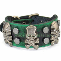 Skull leather cuff bracelet with leather and silver skull  & nail for men cuff bracelet skull bracelet women's wrist bracelet  d-359