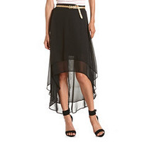 Belted Tiered Chiffon Hi-Low Skirt: Charlotte Russe