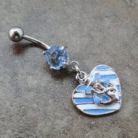 Anchor and Heart Belly Button Jewelry Ring Striped Periwinkle Light Blue