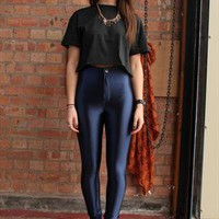 Women's New High Waisted Navy Zip Up Shiny Disco Pants  from revolva