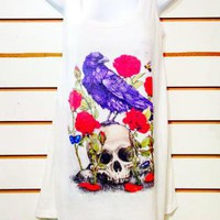 The Crow and The Skull Tank Top Tunic Tshirt Dress