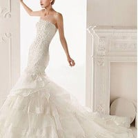[299.99] Glamorous Satin & Organza Satin & Tulle Mermaid Strapless Neckline Pleated Wedding Gown with Lace Appliques and Beadings - Dressilyme.com