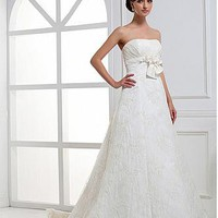 [264.99] Perfect Taffeta & Alencon Lace A-line Strapless Neckline Empire Waist Wedding Dress With Handmade Flower - Dressilyme.com