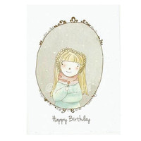 "Birthday Greeting Card - Happy Birthday - Blank Card  4 x 6 "" Art Print of my Illustration with Envelope"