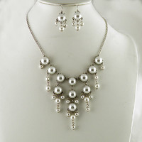 Small Pearl White Bubble Necklace & Earring Set