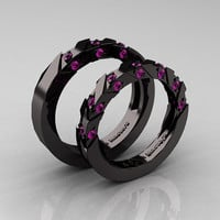 Modern Italian 14K Black Gold Amethyst Wedding Band Set R310BS-14KBGAM
