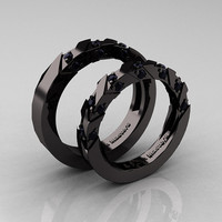 Modern Italian 14K Black Gold Black Diamond Wedding Band Set R310BS-14KBGBD
