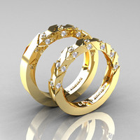 Modern Italian 14K Yellow Gold Diamond Wedding Band Set R310BS-14KYGD