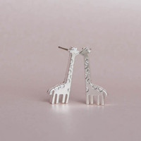 Silver Giraffe Earrings Giraffe Stud Earrings