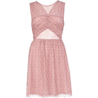 Pink cut out pleated lace prom dress - dresses - sale - women