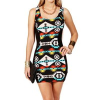 Black/Orange Aztec Print Tank Dress