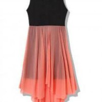 Beautiful Color Block Asymmetrical Hem Dress