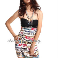 Womens Sexy Script Lace Strapless Bandeau Mini Dress tH