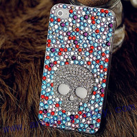 colorful crystal iphone 5 case,skull iphone 4s case with full crystal,unique iphone 4 cover cases