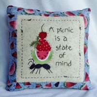 Primitive Pillow Summer Picnic by Happy Valley Primitives SFCOFG