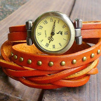 Vintage Style Orange Leather Bracelet  Wrap Watch, Rivet Bracelet Watch Handmade Women's Watch, Everyday Bracelet  PB017