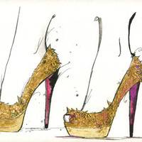 Watercolor and Pen Fashion Illustration - The Golden Heels print