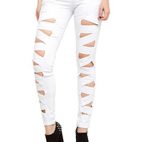 Royal Bones White Peekaboo Skinny Jeans | Hot Topic