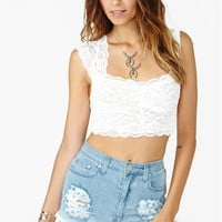 Scalloped Lace Crop Top - White