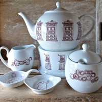 Doctor Who Tea Set with Teapot, Creamer and Sugar Bowl, Tea Strainer and Spoon, Tea Pot Warmer, Ready to Ship