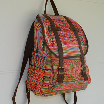 SPECIAL PRICE Orange Backpack Book Bag Handmade by EthnicLanna