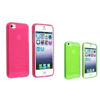 eForCity 2 Set Frost Clear Case Combo Hot Pink+Green TPU Soft Gel Case Compatible with Apple&amp;reg; iPhone&amp;reg; 5 5G:Amazon:Cell Phones &amp; Accessories