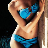 2013 New 2PCS Blue Sexy Women Padded Swimwear Swimsuit Bikini Set-Blue