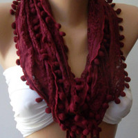 Burgundy - Lace and Elegance Shawl  -  Scarf - with Pompom