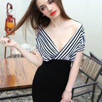 Starry open V-neck stripe dress