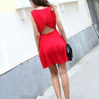 Starry sexy halter red chiffon dress
