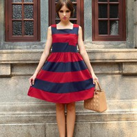 Starry Hit color striped chic dress red