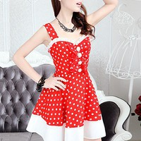 Red and white Polka Dot mosaic strap chiffon dress_Cute dresses_Dresses_Mili fashion Trade Co.Ltd