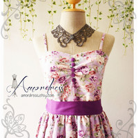 My Victorian Dress Vintage Inspired Rose Dress Exotic Purple Floral Party Bridesmaid Tea Dress Wedding Prom Cocktail Dress -XS,S,M,L,CUSTOM-