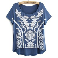 Buy Sweet Vintage Lace Print Modal Short T-shirt on Shoply.